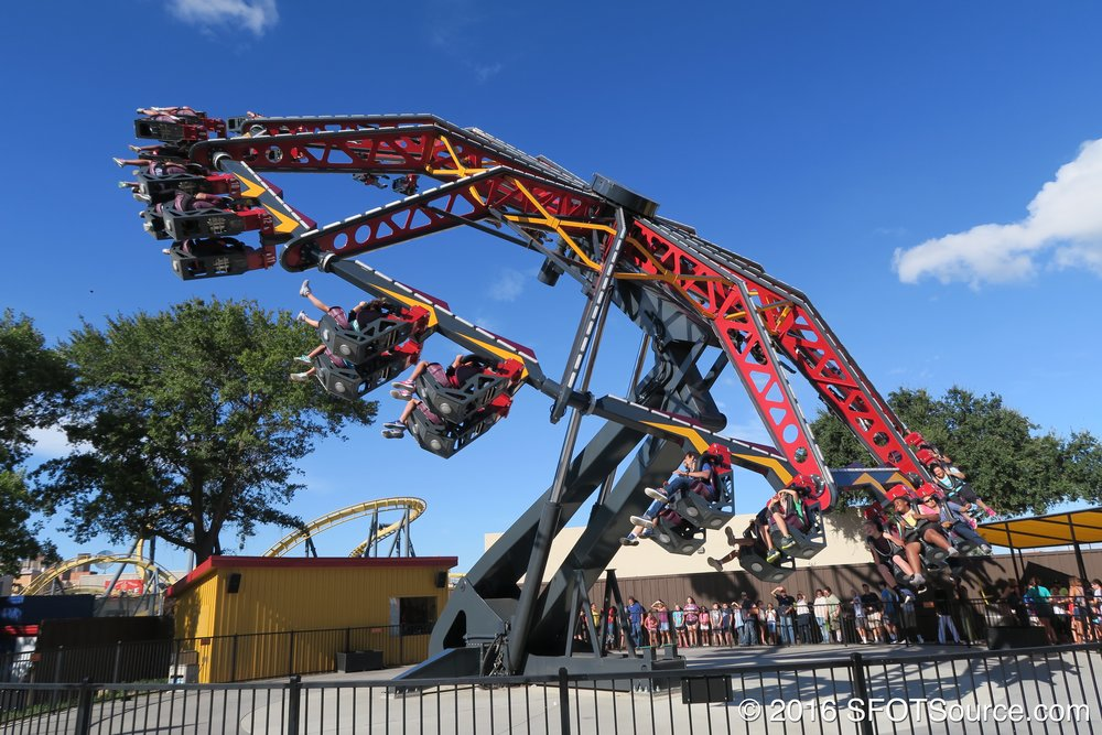 As the ride accelerates it tilts more and more on its side.