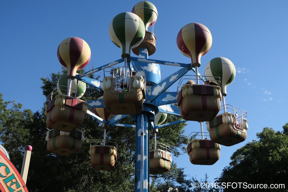Guests are able to control the spinning speed of their baskets during the ride.
