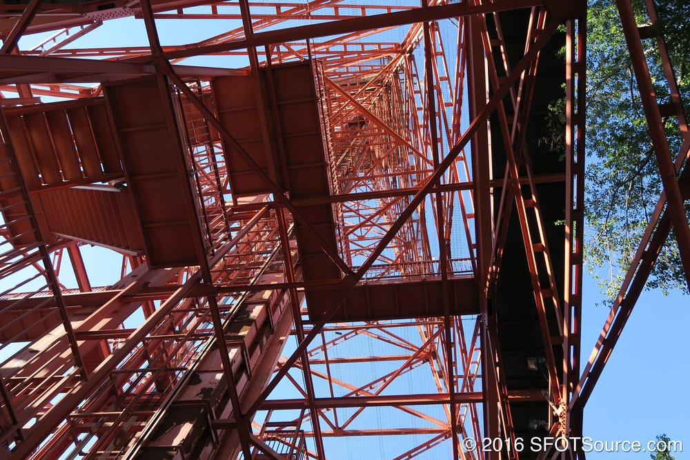 Standing directly under Oil Derrick.