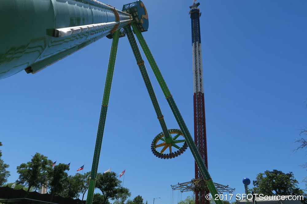 The ride swings riders in a pendulum-style motion.