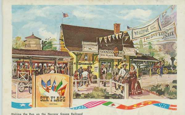 An early Six Flags Over Texas postcard showing off the Texas Depot train station.