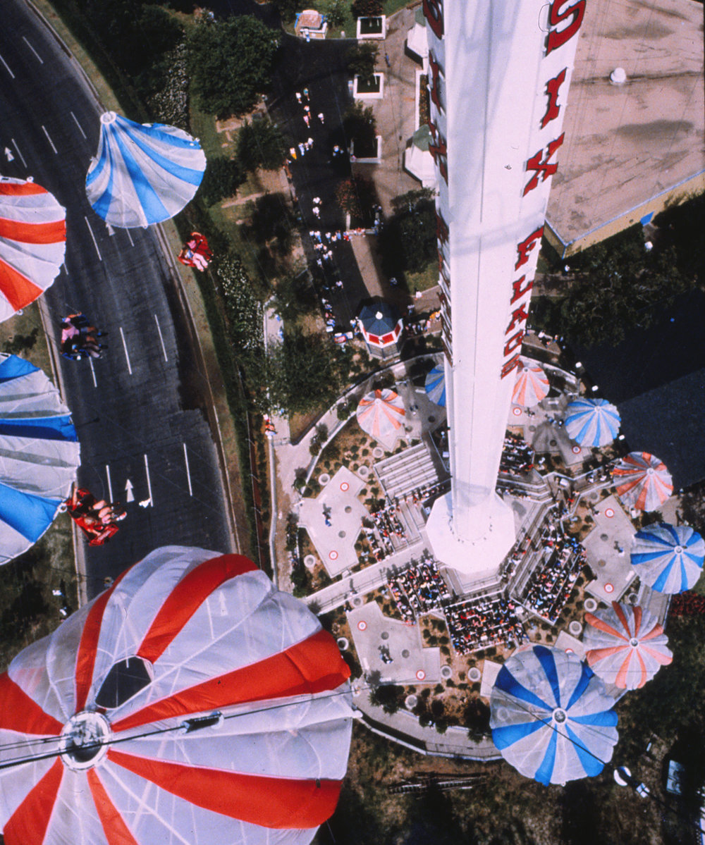 An early look down onto Texas Chute Out. Credit: Six Flags Archives