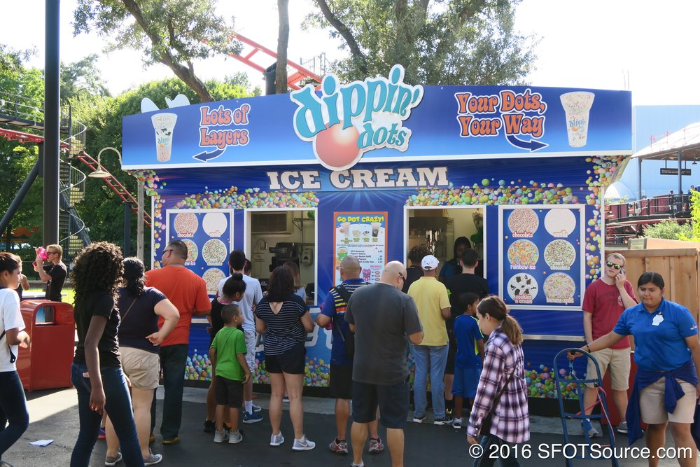 Boomtown Dippin' Dots is an outdoor food stand.