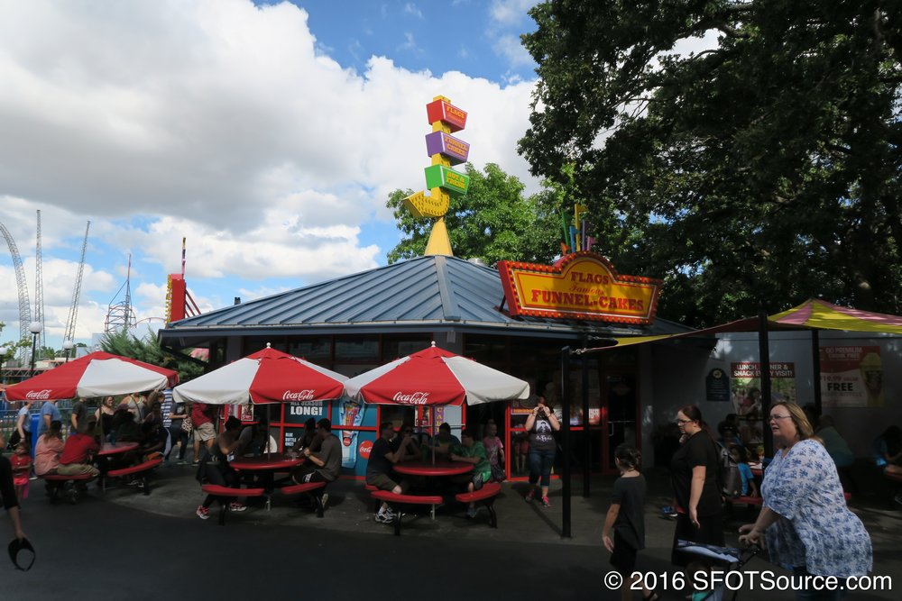 Flags Funnel Cakes is located in the park's USA section.