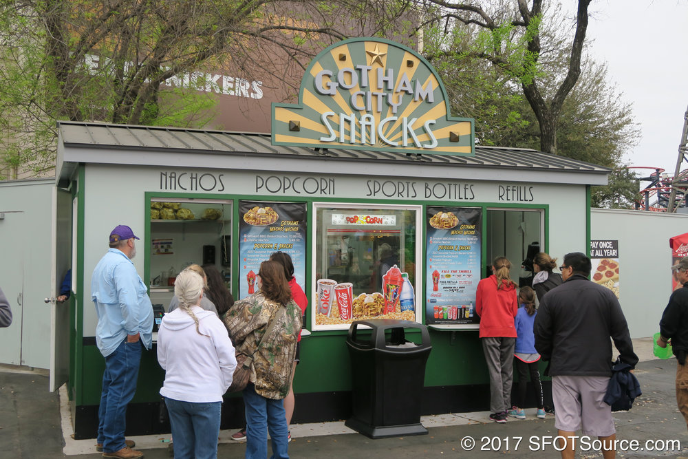 Gotham City Snacks is an outdoor food stand.