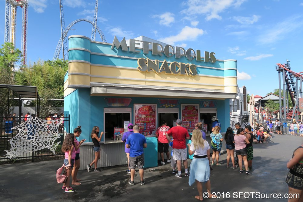 Metropolis Snacks is located in the park's USA section.