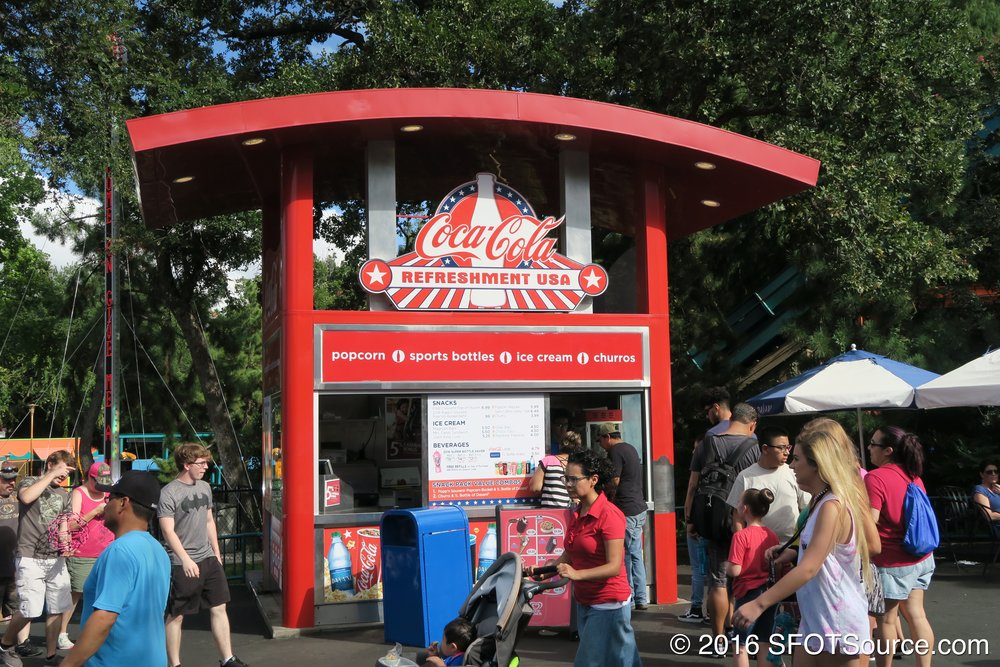 USA Kiosk is an outdoor food stand.