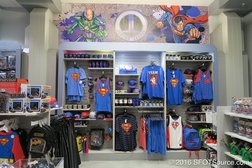 The stop features DC-themed merchandise.