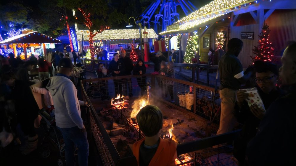 Fire Pits & S'Mores - Guests can purchase a s'mores kit from various locations and line up around one of many fire pits for a great experience. Fire pits are located all around the park.