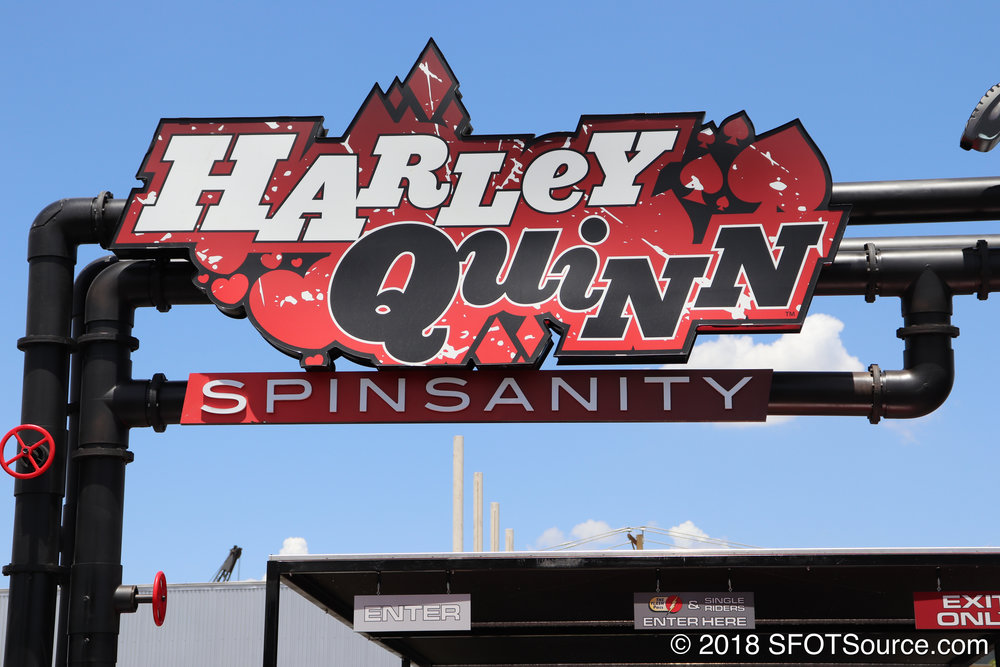 Harley Quinn Spinsanity signage.