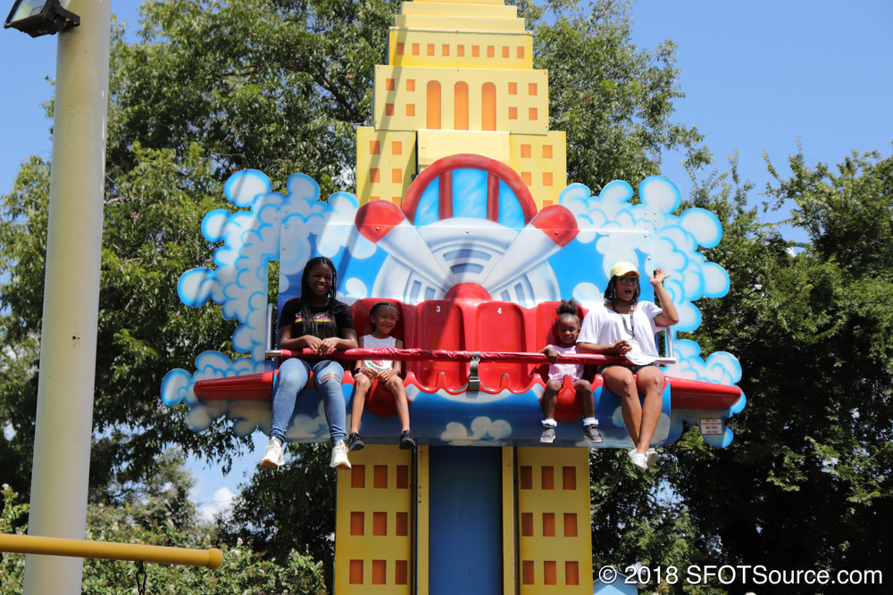 Guests are sent up and down this miniature drop tower.