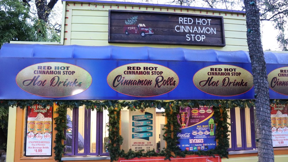 The Red Hot Cinnamon Stop serves cinnamon rolls, hot drinks, and more.