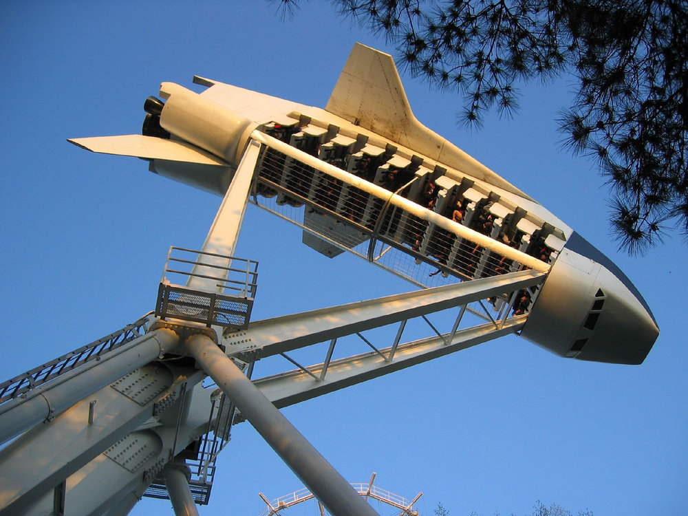 The attraction as Looping Starship at Six Flags Over Georgia.