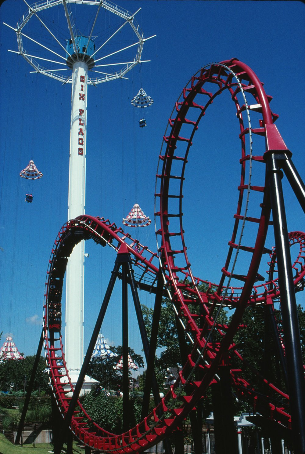 Flashback! travels through one of multiple inversions during the park's 1991 season.