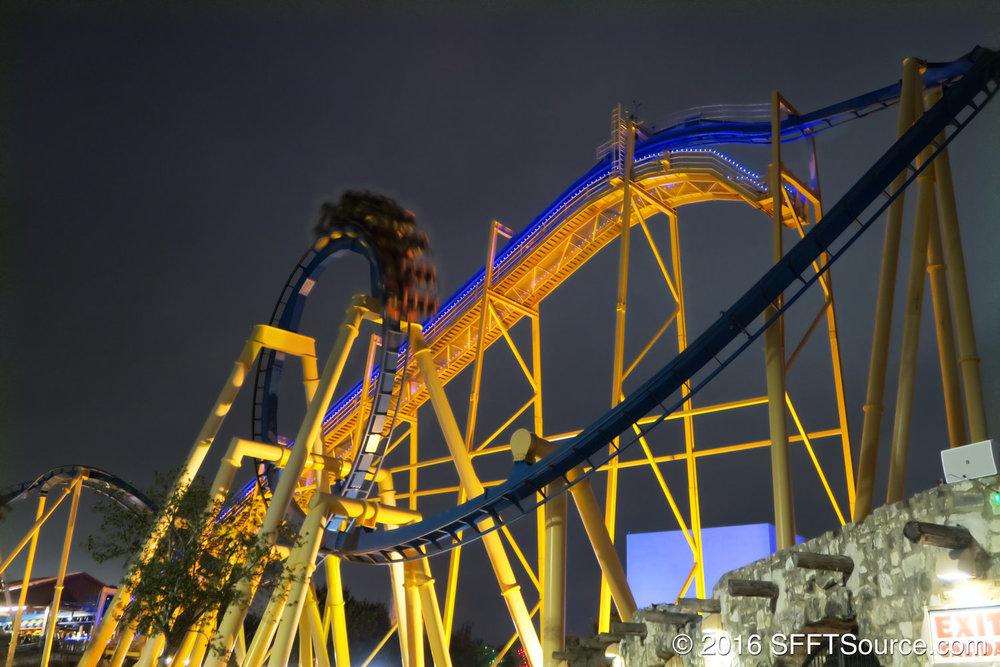 Goliath    is a mirrored version of Batman: The Ride at Fiesta Texas in San Antonio.