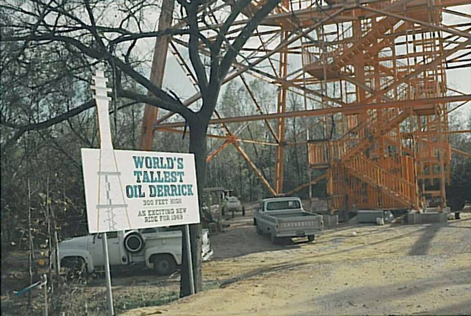Crews constructing Oil Derrick prior to its opening in 1969. Credit: Six Flags Archives