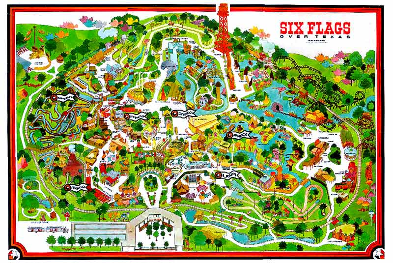 Map Of Six Flags Over Texas Past Park Maps | Six Flags Over Texas — SFOT Source