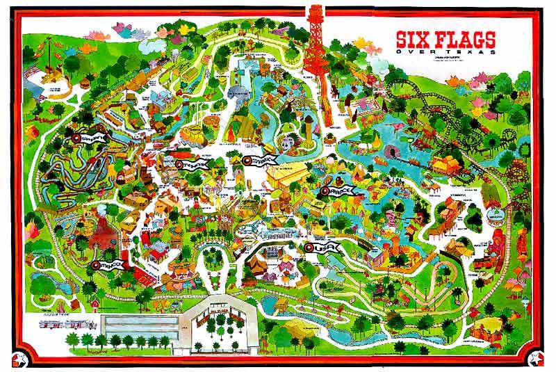 Past Park Maps Six Flags Over Texas Sfot Source