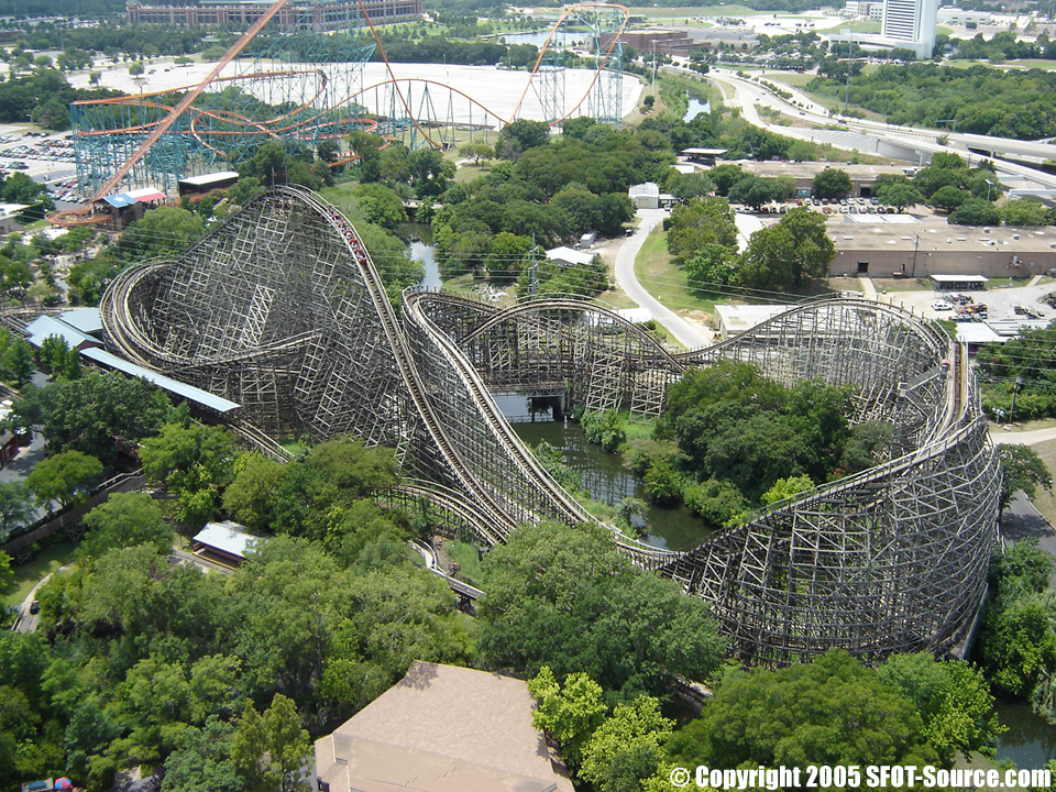 An aerial view of the original Texas Giant.