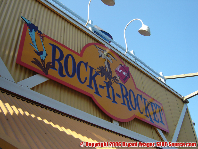 The entrance signage to ACME Rock-n-Rocket.