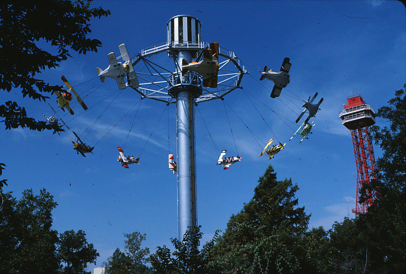 The Great Six Flags Air Racer once occupied Superman: Tower of Power's current location. Credit: Six Flags Archives