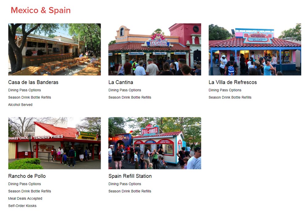 The Dining page features a quick listing of all restaurants and food stands at SFOT.