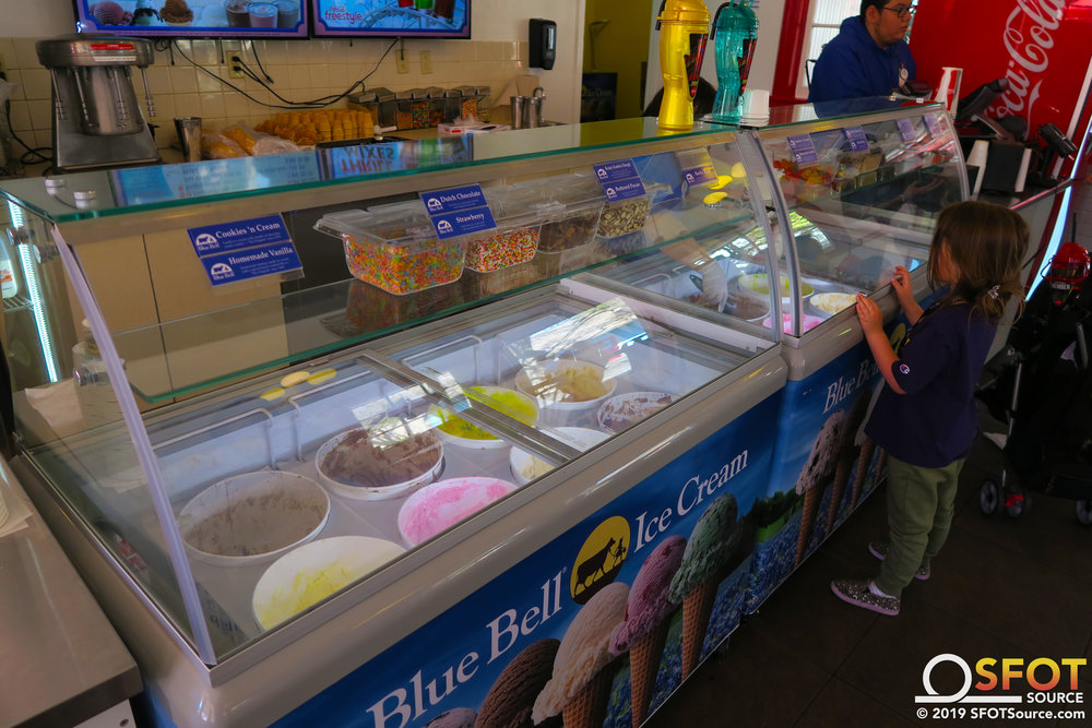 Smith Street Ice Cream Parlor features a selection of Blue Bell ice cream flavors.