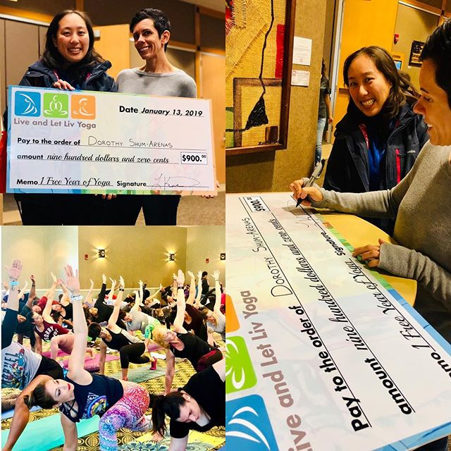 Not only did she win a FREE year of yoga at our 5th birthday celebration but she won it in her birthday! Congrats Dorothy and thank you to everyone who came out to celebrate!