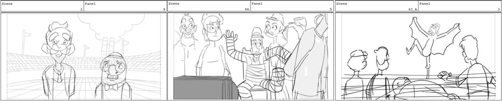 Storyboard panels, by Zach Ramirez