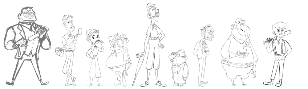 The Cast, cleaned up sketch by Brigette Barrager