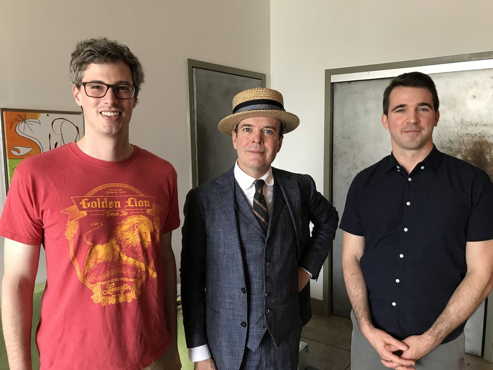 Pictured Left to Right: Sam Fletcher, Jefferson Mays, Robert McKeon. Not pictured: Jefferson's fake mustache.