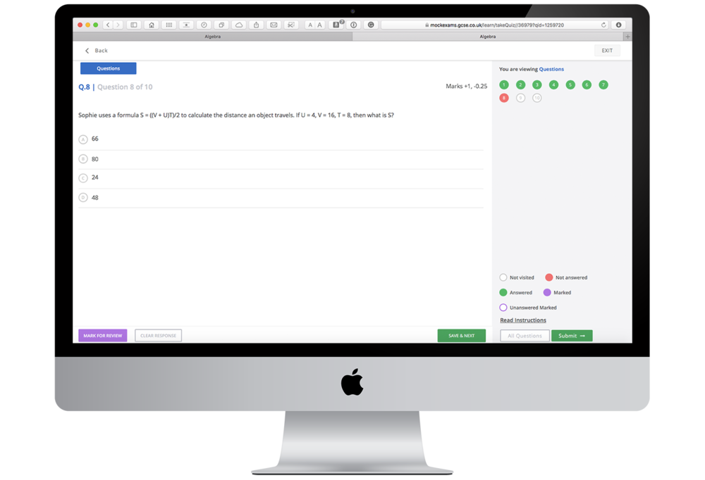 GCSE Quiz on iMac Desktop
