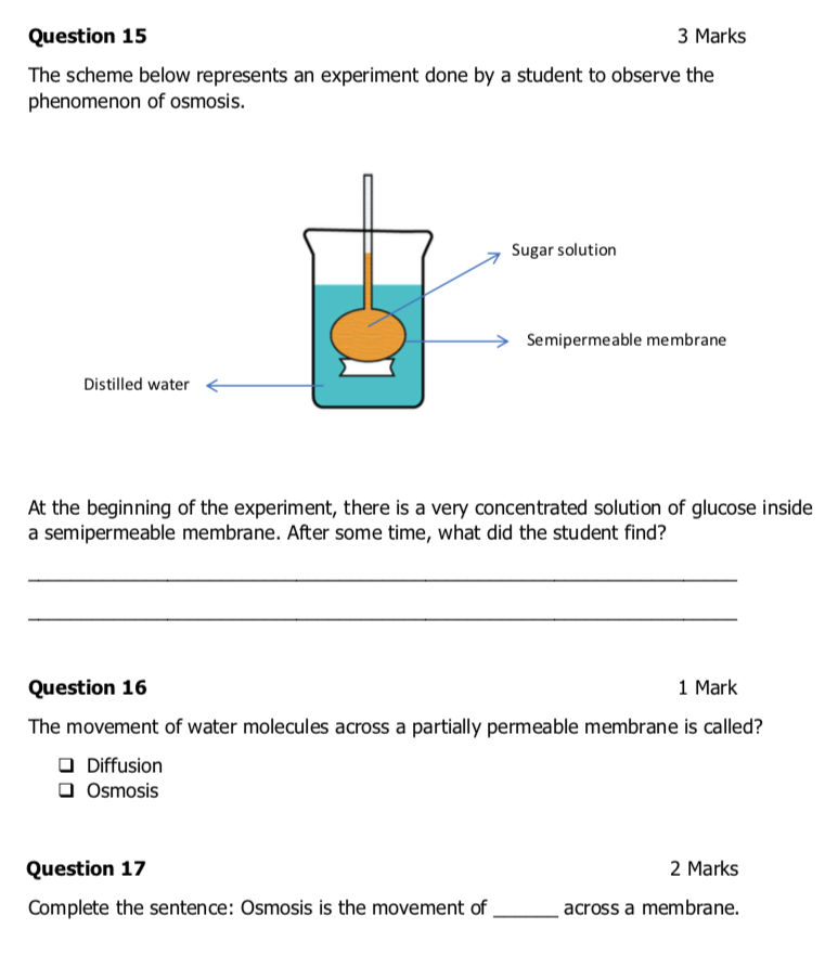 GCSE Biology Osmosis Worksheets