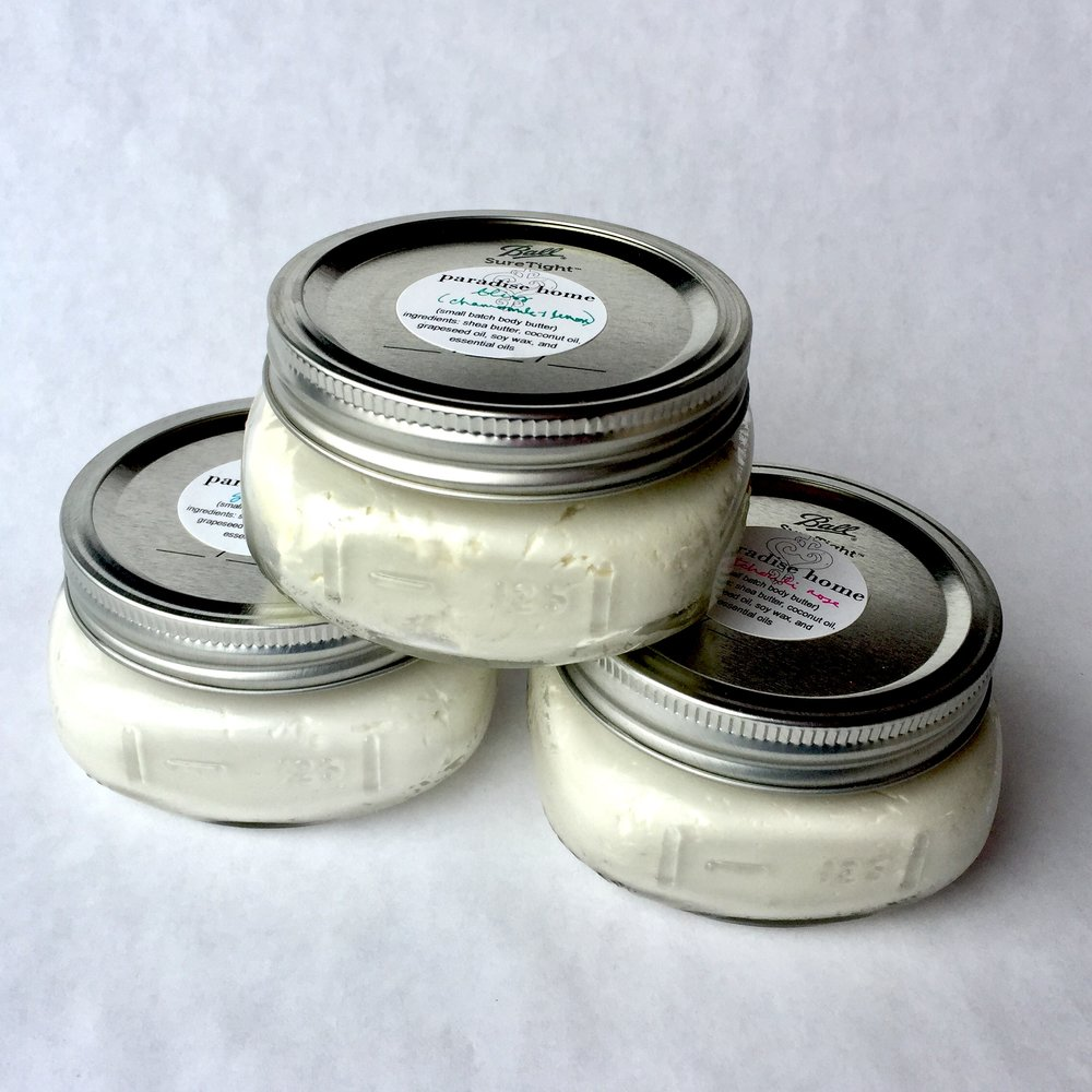 Massage Candles & Body Butters - Made with Shea Butter, Coconut Oil and Pure Essential Oils