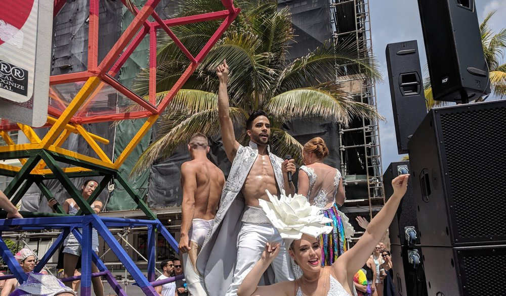 Cast members of the Celebrity Solstice, Celebrity Infinity, and the Celebrity Silhouette collaborated together and were featured in the Pride Parade down Collins Avenue in Miami Beach.