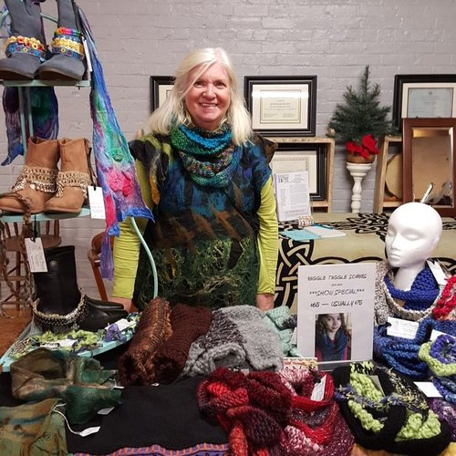 Doreen Breen - Doreen Breen, owner and designer for Soul Theads works with natural and recycled fabricsto create wearable art pieces. She chooses to be eco-friendly, thoughtful and mindful of the disposability of our society. Believing there is a conscious connection between people and the clothing they choose to wear, Doreen works to bring clothing and accessories that inspire and empower the wearer. She is an excellent textile artist who focuses on upcycling coats, and giving them new life with vintage inspirations and wool accents. In her wool work, Doreen uses locally sourced, natural fibers and makes beautiful fall and winter accessories using free form crochet practices.