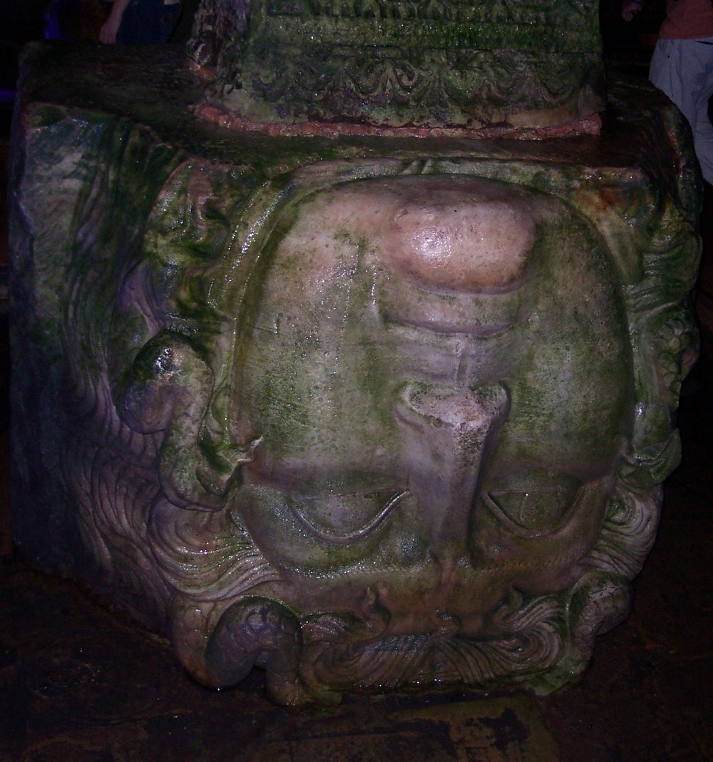 Medusa's head in an underground cistern in Istanbul. Photo by A. Ivakhiv