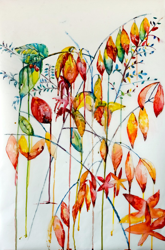 "Transforming leaves   Watercolour on mylar, 35""x24"",   $1500."