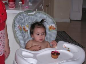 Natalia and her birthday cupcake.