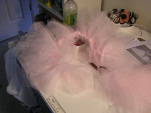 This is as far as I have gotten on her tutu and the Ward Trunk or Treat is on Saturday!