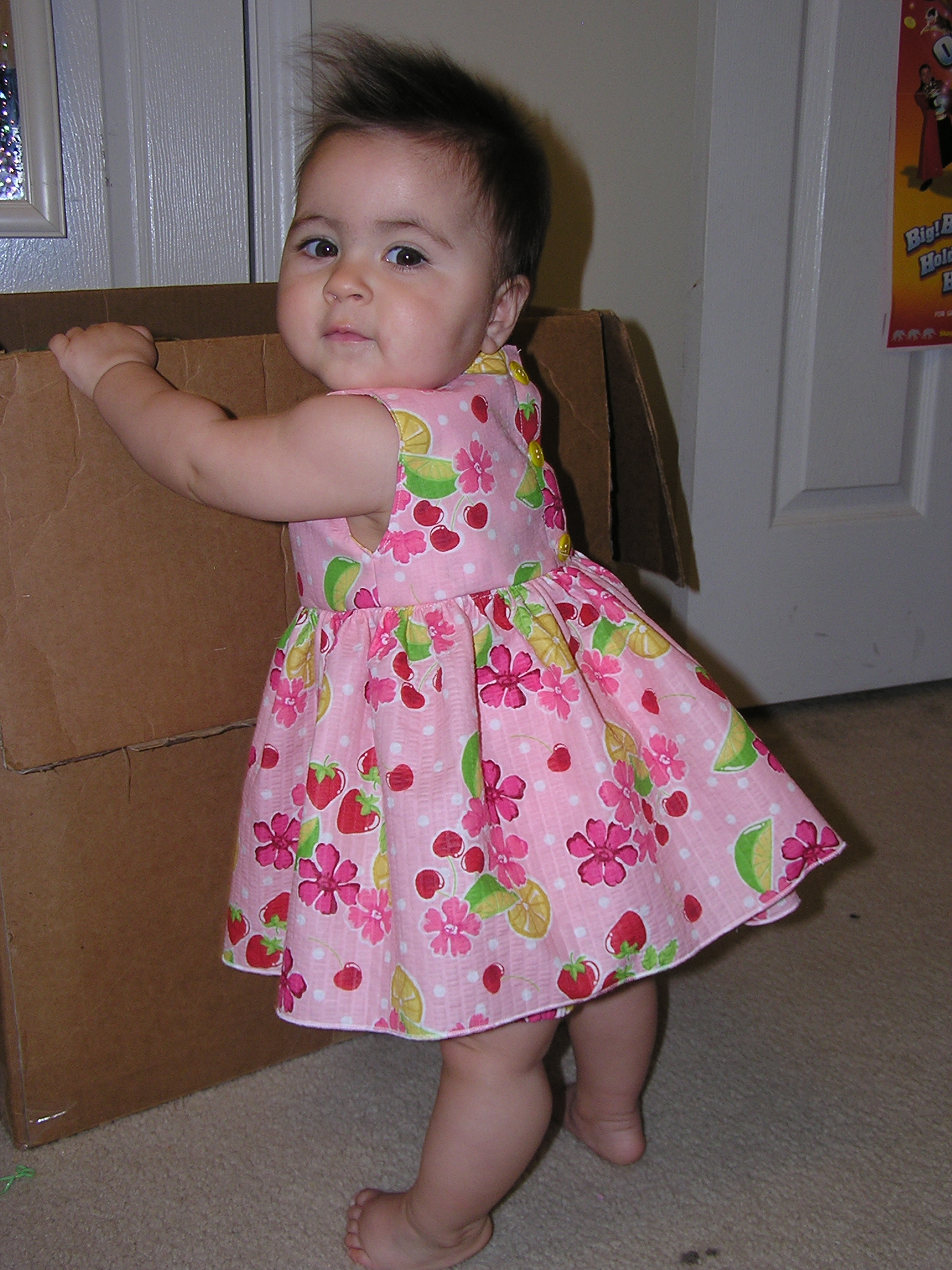 Natalia posing...her lemonade dress.