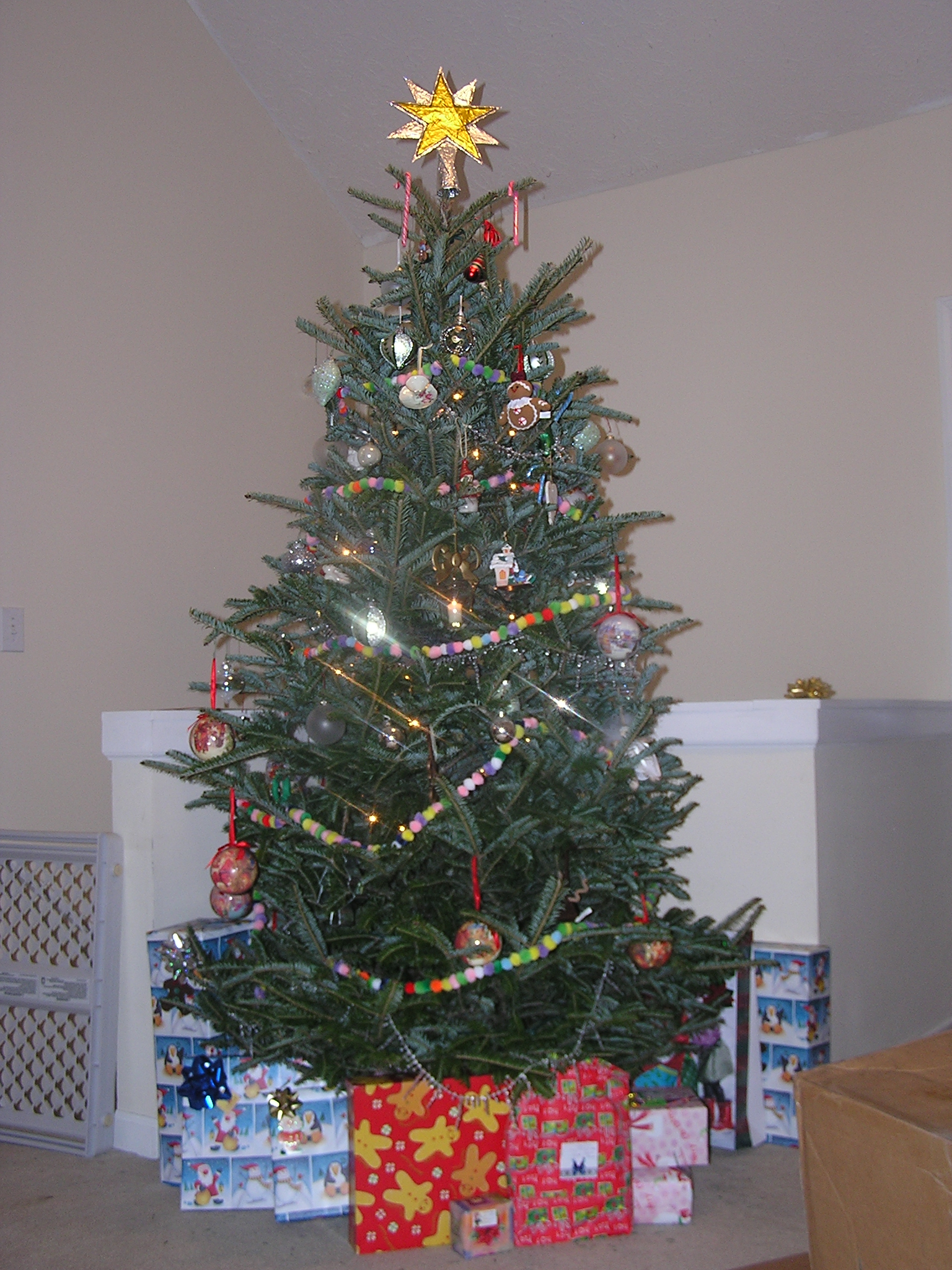 This is our Christmas tree. Notice that there are hardly any ornaments on the bottom half. That is because my 1 1/2 year old had broken 3 of my oldest ornaments when putting the tree up, so once she went to bed all the breakables were put up out of her reach.
