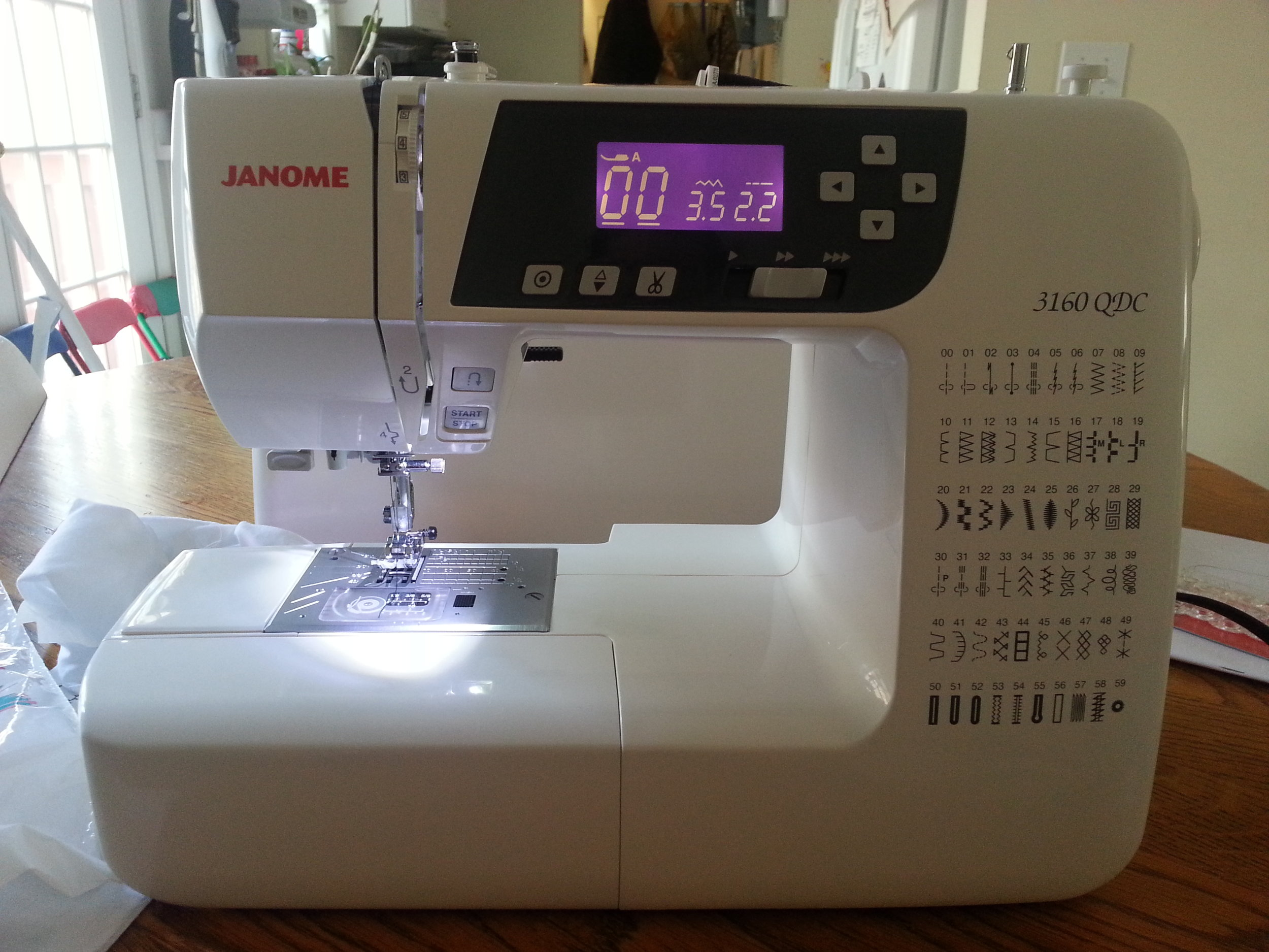 this is my new machine the Janome 3160