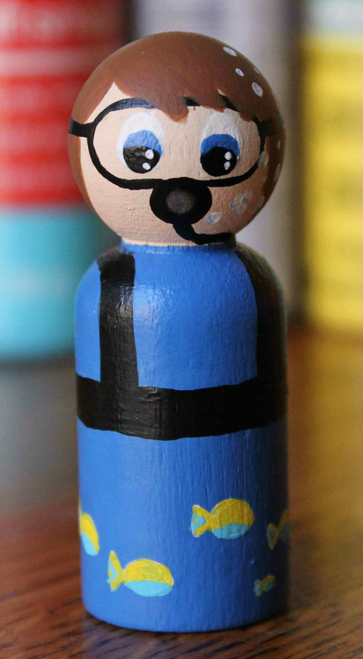 Here is the front of the Scuba Diver Peg People