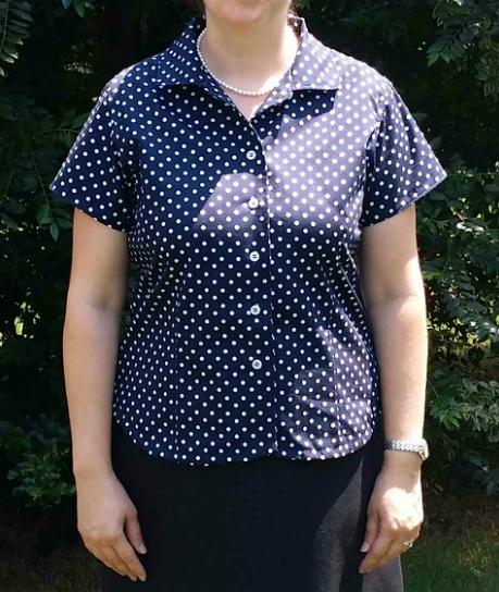 Blue and white polka dot shirt