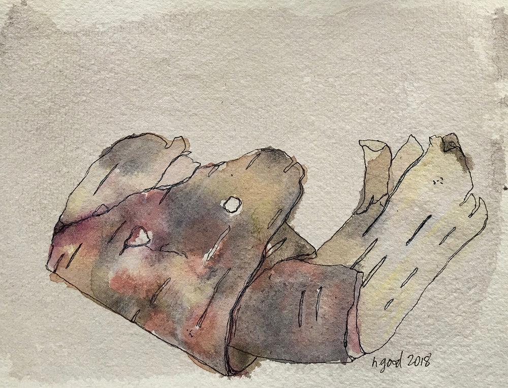 "Birchbark watercolour and pen on paper 6x8"" SOLD"