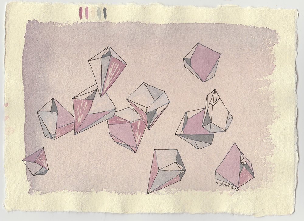 "Crystals II watercolour and pen on paper 6x8"" $45"