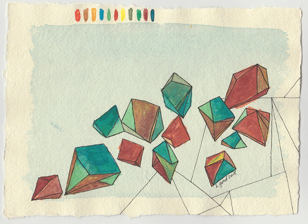 """Crystals III watercolour and pen on paper 6x8"""" $45"""