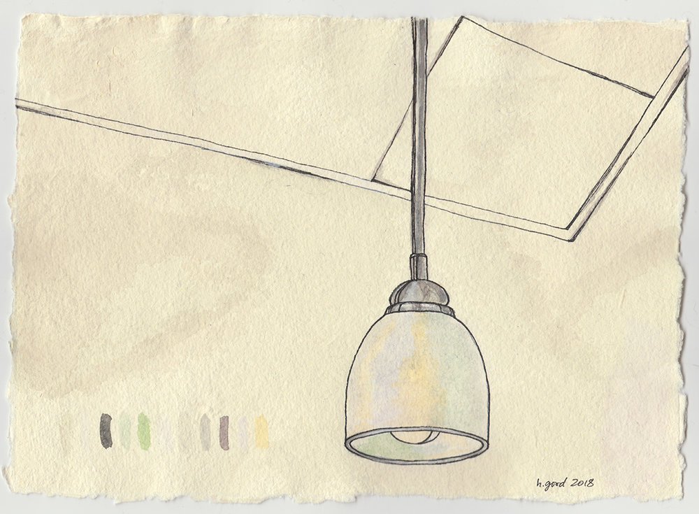 """Lamp and Ceiling watercolour and pen on paper 6x8"""" $45"""