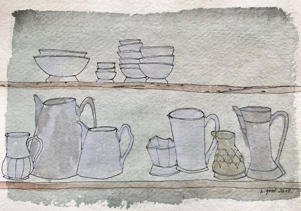 """Kitchen Shelf watercolour and ink on paper 6x8"""" SOLD"""